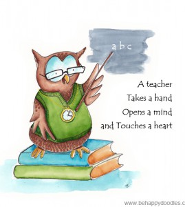 A teacher touches a heart